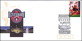 1996 AFL Cent Cover with Melb Stamp and MCG PM on FDI