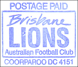Brisbane Lions Prepaid rubber stamp impression